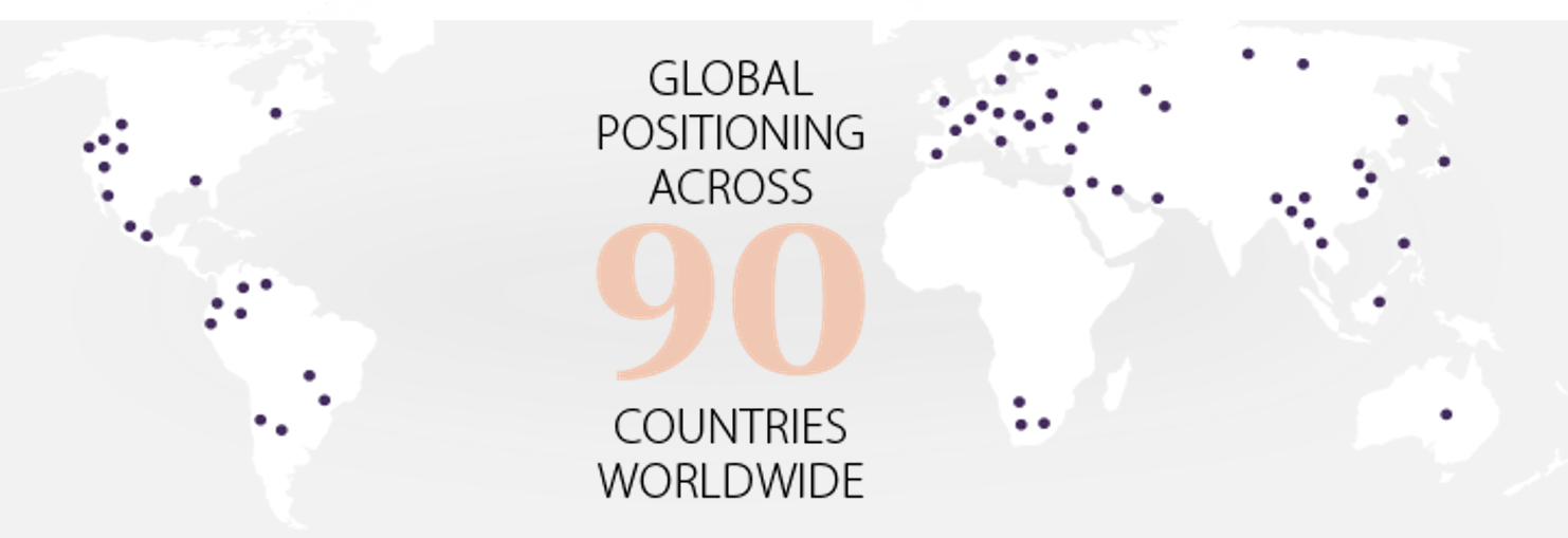 Global positioning across 90 countries